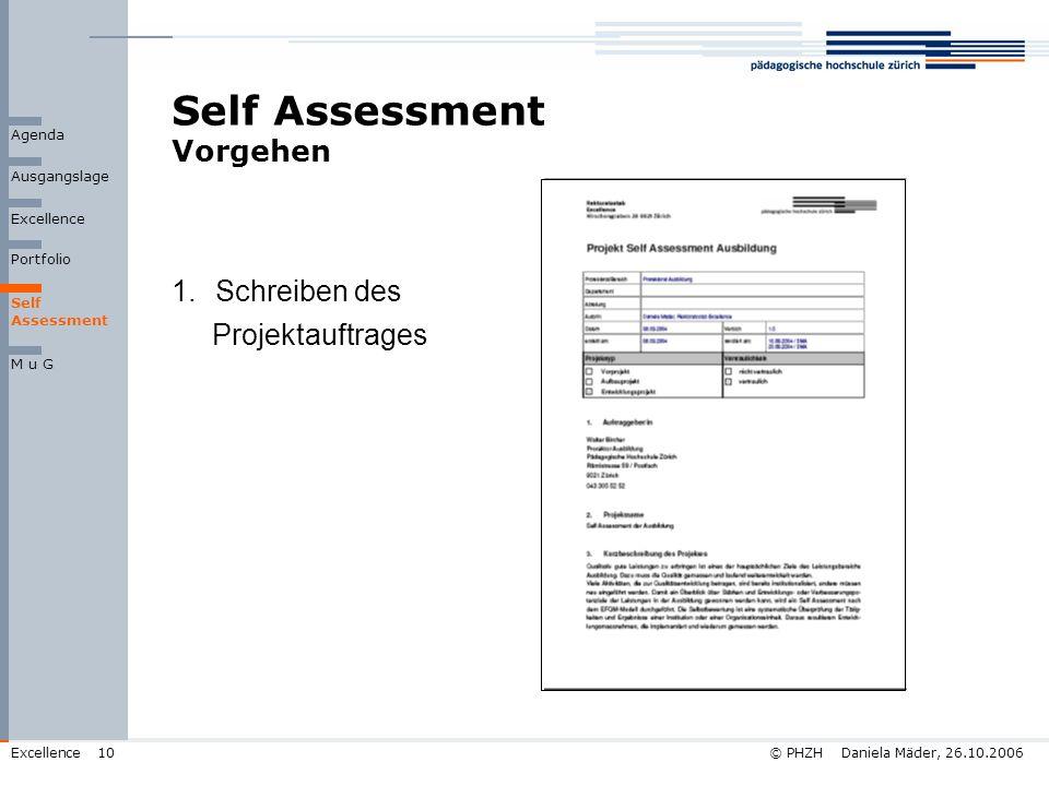 © PHZH Daniela Mäder, 26.10.2006Excellence10 Self Assessment Vorgehen 1.Schreiben des Projektauftrages Ausgangslage Agenda Excellence Portfolio M u G
