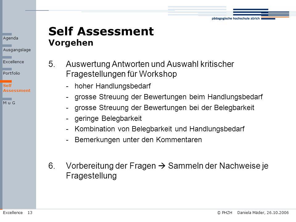 © PHZH Daniela Mäder, 26.10.2006Excellence13 Self Assessment Vorgehen 5.Auswertung Antworten und Auswahl kritischer Fragestellungen für Workshop -hohe