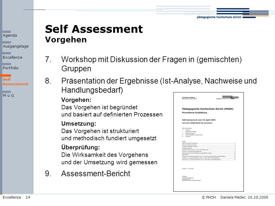 © PHZH Daniela Mäder, 26.10.2006Excellence14 Self Assessment Vorgehen 7.Workshop mit Diskussion der Fragen in (gemischten) Gruppen 8.Präsentation der