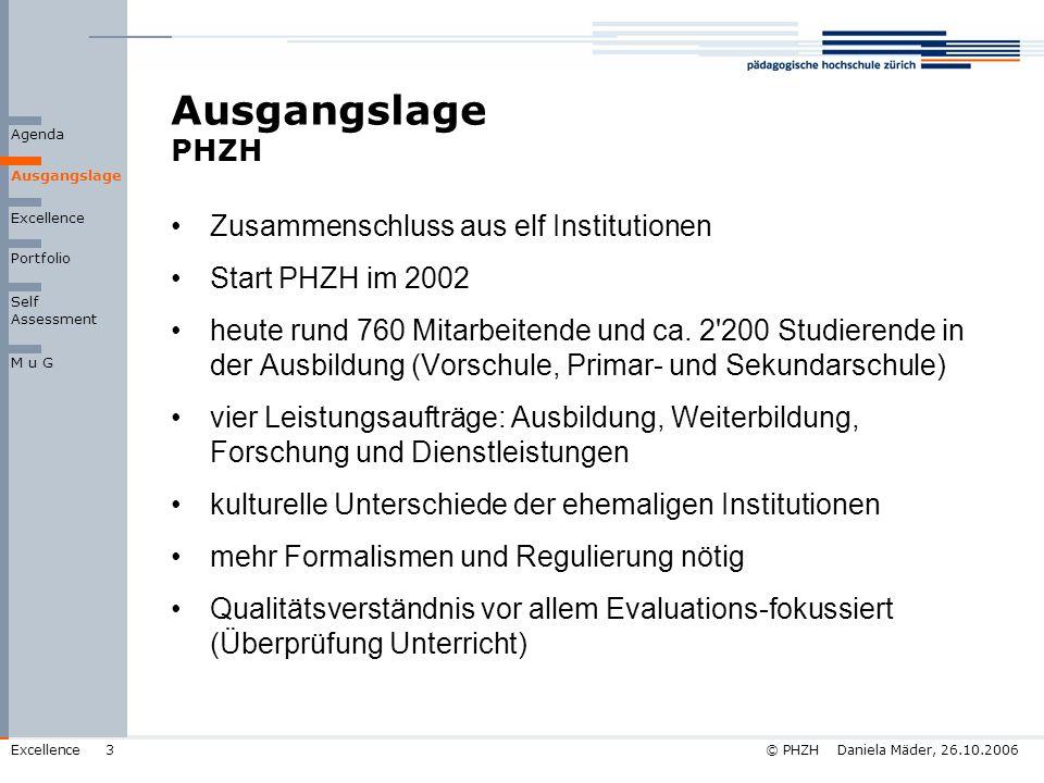 © PHZH Daniela Mäder, 26.10.2006Excellence3 Ausgangslage PHZH Ausgangslage Agenda Zusammenschluss aus elf Institutionen Start PHZH im 2002 heute rund