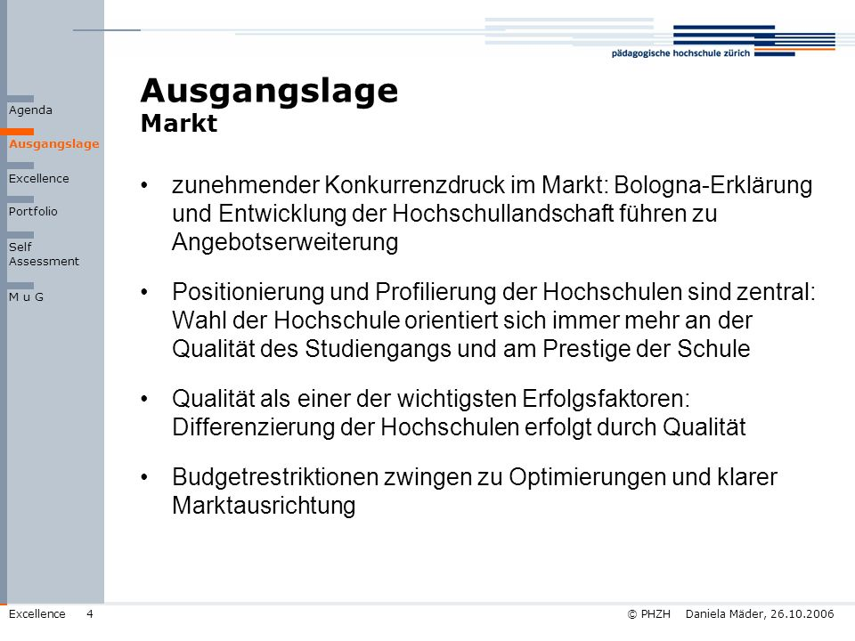 © PHZH Daniela Mäder, 26.10.2006Excellence15 Self Assessment Stand Qualitätsentwicklung Prozesse 14% Innovation und Lernen Befähiger Ergebnisse Ausgangslage Agenda Erfüllungsgrad tief hoch Führung 10% Schlüssel- ergebnisse 15% Politik u.