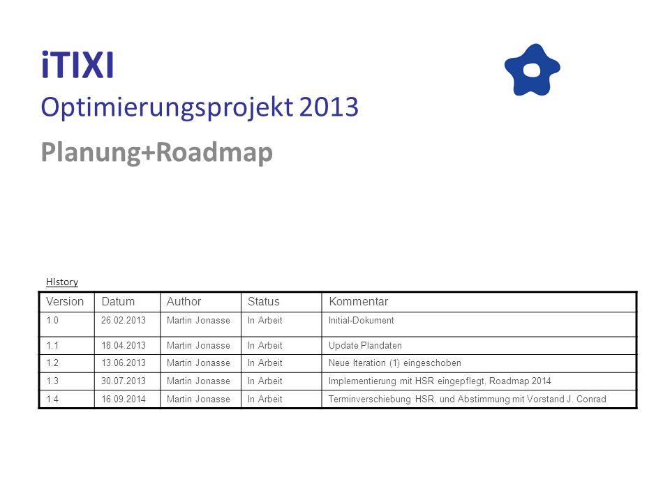iTIXI Optimierungsprojekt 2013 Planung+Roadmap VersionDatumAuthorStatusKommentar 1.026.02.2013Martin JonasseIn ArbeitInitial-Dokument 1.118.04.2013Mar