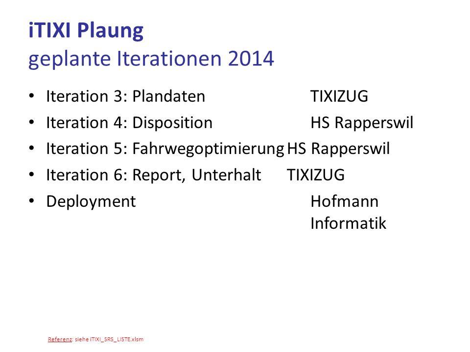 MyTixi (Machbarkeitsstudie) Schnittstelle zu Telefonie (Swisscom/VTX?) Schnittstelle FIBU (Abacus?) -> Iteration 6.