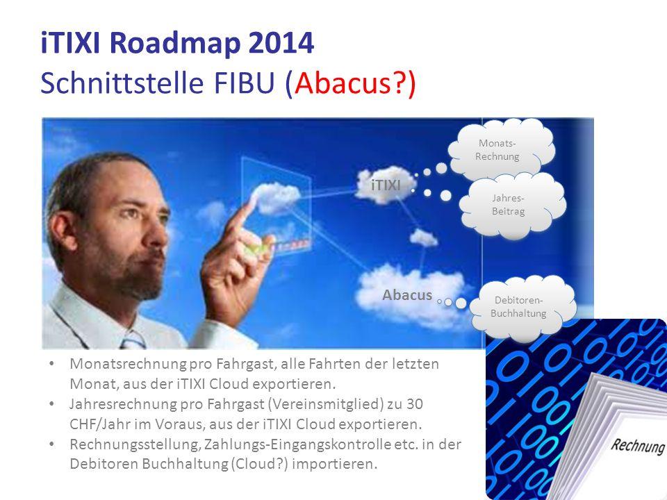 iTIXI Roadmap 2014 Schnittstelle FIBU (Abacus?) iTIXI Abacus Monats- Rechnung Jahres- Beitrag Monatsrechnung pro Fahrgast, alle Fahrten der letzten Mo