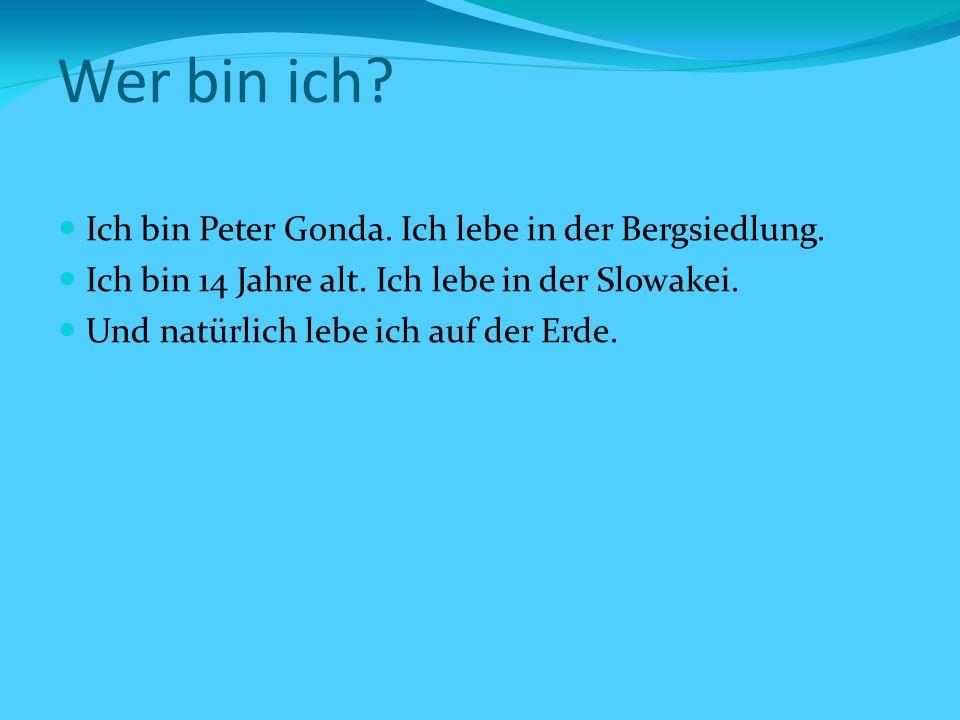 Wer bin ich. Ich bin Peter Gonda. Ich lebe in der Bergsiedlung.