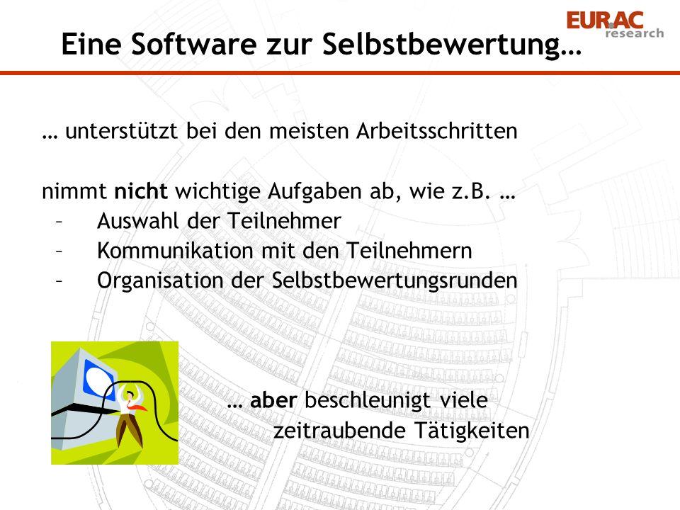 Eine Software zur Selbstbewertung… … unterstützt bei den meisten Arbeitsschritten nimmt nicht wichtige Aufgaben ab, wie z.B. … –Auswahl der Teilnehmer