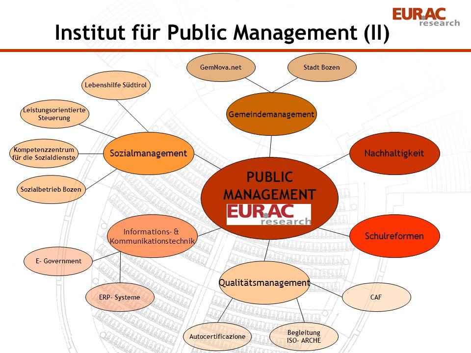 Gemeindemanagement Sozialmanagement Informations- & Kommunikationstechnik Nachhaltigkeit Schulreformen Qualitätsmanagement Stadt Bozen Lebenshilfe Süd