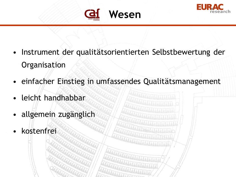 Instrument der qualitätsorientierten Selbstbewertung der Organisation einfacher Einstieg in umfassendes Qualitätsmanagement leicht handhabbar allgemei