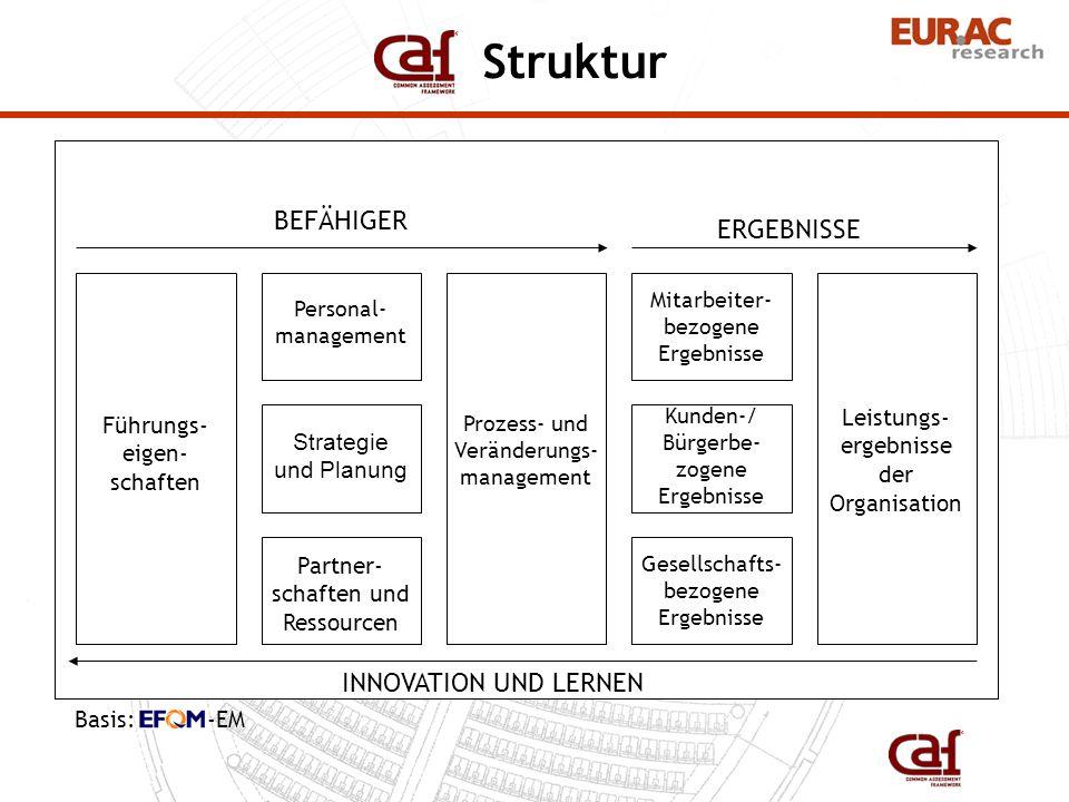Themenfeld 1 Führungseigenschaften Kriterium 1.1 Kriterium 1.2 Entwicklung und Umsetzung eines Managementsystems für die Organisation Indikator 1.2.1 Indikator 1.2.2 Festlegung von geeigneten Managementebenen, Funktionen, Verant- wortlichkeiten und Gestaltungsräumen Indikator 1.2.3 Entwicklung und Vereinbarung messbarer Ziele für alle Ebenen der Organisation Indikator 1.2.4 Kriterium 1.3 Aufbau 9 Themenfelder, 27 Kriterien, ca.