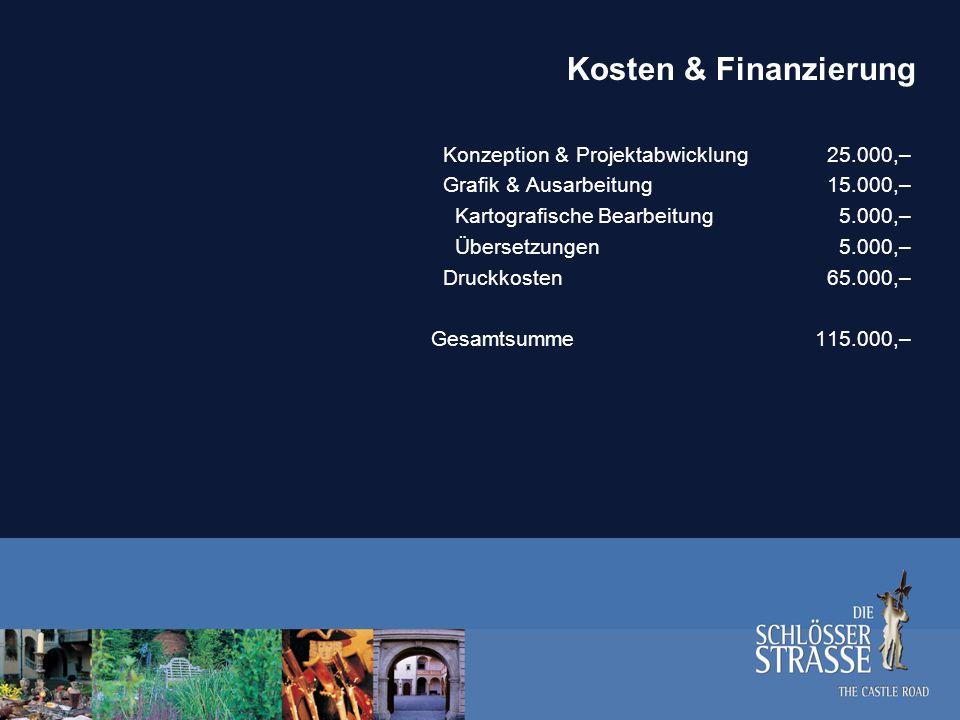 Kosten & Finanzierung EU Förderung Interreg IIIA (60 Prozent)70.000,– Eigenmittelanteil Slowenien15.000,– Eigenmittelanteil Ungarn15.000,– Eigenmittelanteil Österreich15.000,– Gesamtsumme115.000,–
