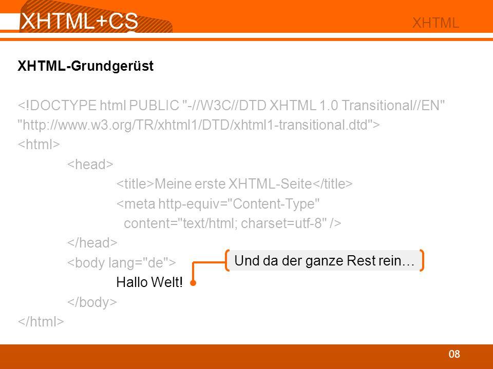 XHTML+CS S 08 XHTML XHTML-Grundgerüst Meine erste XHTML-Seite Hallo Welt! Und da der ganze Rest rein…