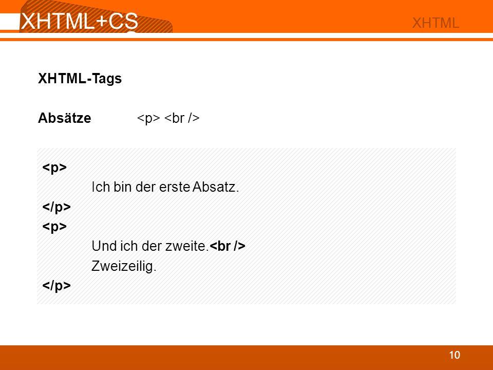 XHTML+CS S 02 XHTML XHTML+CS S 10 XHTML XHTML-Tags Absätze Ich bin der erste Absatz. Und ich der zweite. Zweizeilig.