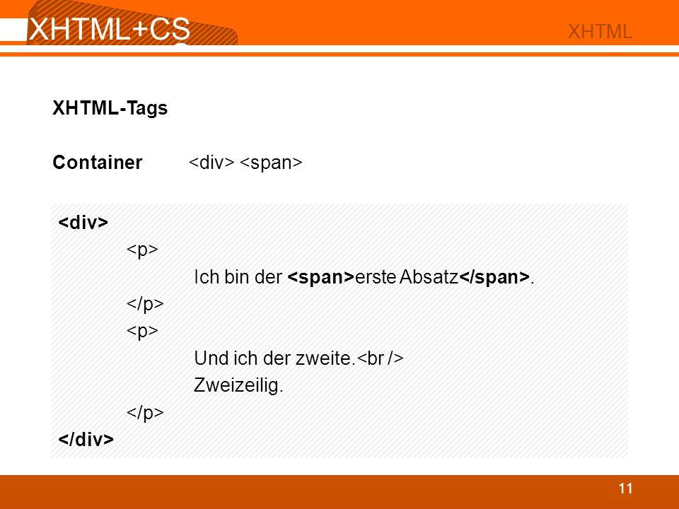 XHTML+CS S 02 XHTML XHTML+CS S 11 XHTML XHTML-Tags Container Ich bin der erste Absatz. Und ich der zweite. Zweizeilig.