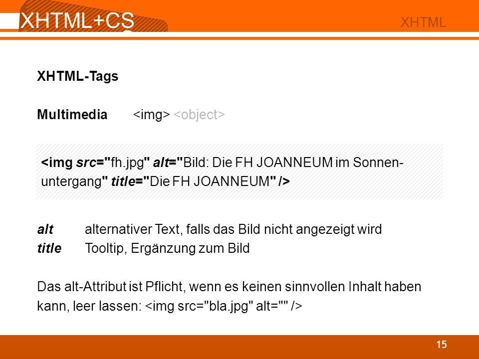 XHTML+CS S 02 XHTML XHTML+CS S 15 XHTML XHTML-Tags Multimedia alt alternativer Text, falls das Bild nicht angezeigt wird titleTooltip, Ergänzung zum B