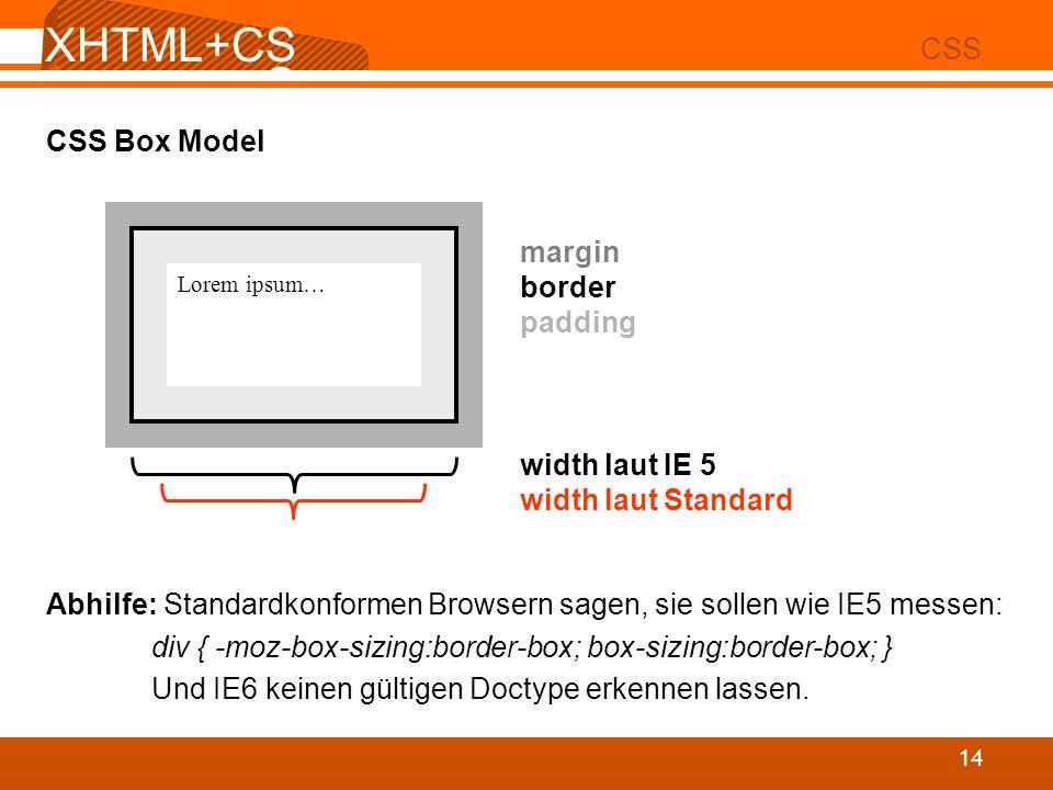 XHTML+CS S 02 CSS 14 CSS Box Model Abhilfe: Standardkonformen Browsern sagen, sie sollen wie IE5 messen: div { -moz-box-sizing:border-box; box-sizing: