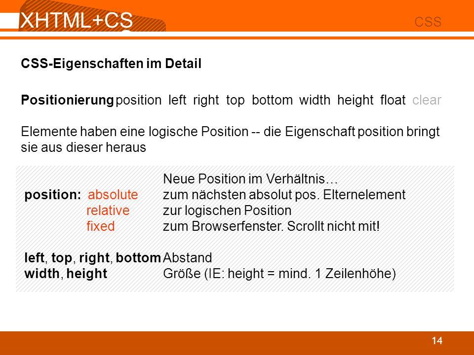 XHTML+CS S 02 CSS 14 CSS-Eigenschaften im Detail Positionierungposition left right top bottom width height float clear Elemente haben eine logische Po
