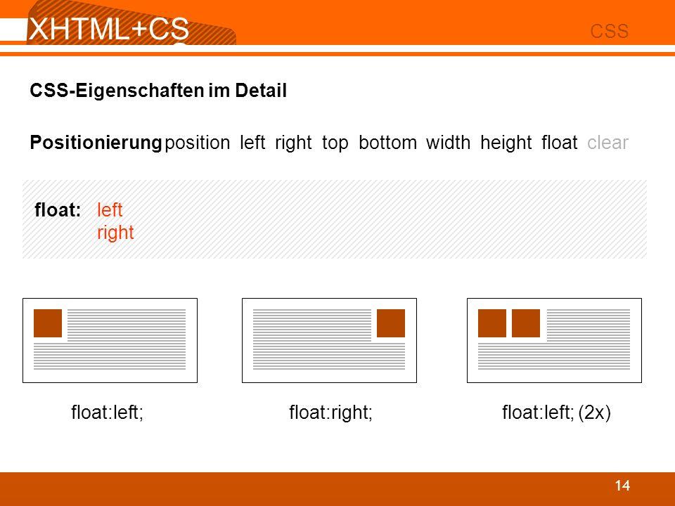 XHTML+CS S 02 CSS 14 CSS-Eigenschaften im Detail Positionierungposition left right top bottom width height float clear float: left right float:left; f