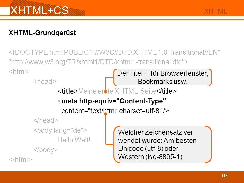 XHTML+CS S 07 XHTML XHTML-Grundgerüst Meine erste XHTML-Seite Hallo Welt! Der Titel -- für Browserfenster, Bookmarks usw. Welcher Zeichensatz ver- wen