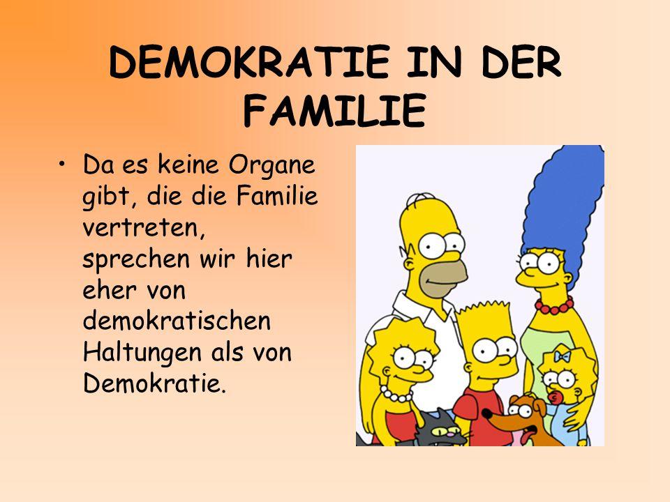 DEMOKRATIE IN DER FAMILIE Da es keine Organe gibt, die die Familie vertreten, sprechen wir hier eher von demokratischen Haltungen als von Demokratie.