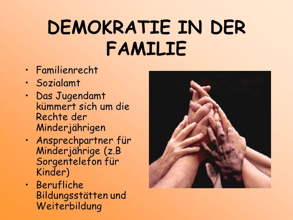 DEMOKRATIE IN DER FAMILIE Familienrecht Sozialamt Das Jugendamt kümmert sich um die Rechte der Minderjährigen Ansprechpartner für Minderjährige (z.B S