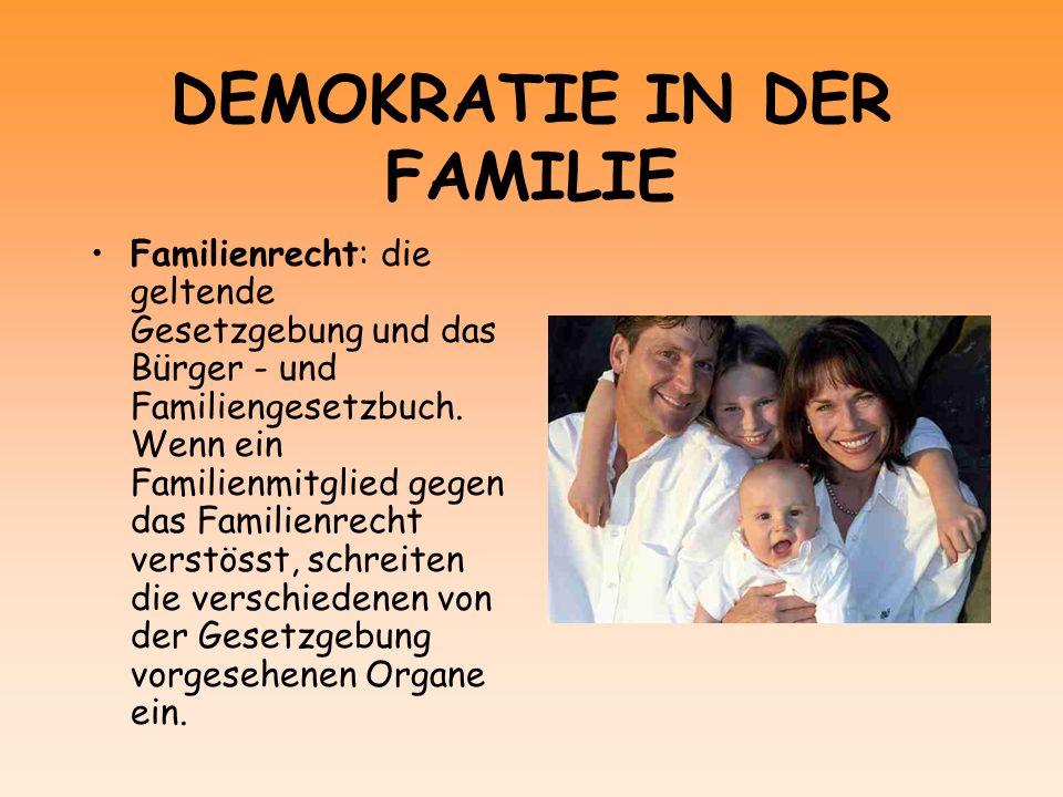 DEMOKRATIE IN DER FAMILIE Familienrecht: die geltende Gesetzgebung und das Bürger - und Familiengesetzbuch. Wenn ein Familienmitglied gegen das Famili