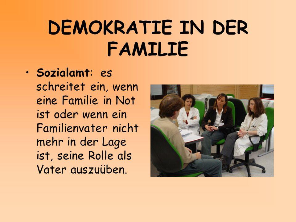 DEMOKRATIE IN DER FAMILIE Sozialamt: es schreitet ein, wenn eine Familie in Not ist oder wenn ein Familienvater nicht mehr in der Lage ist, seine Roll