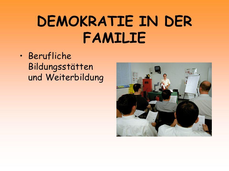 DEMOKRATIE IN DER FAMILIE Berufliche Bildungsstätten und Weiterbildung