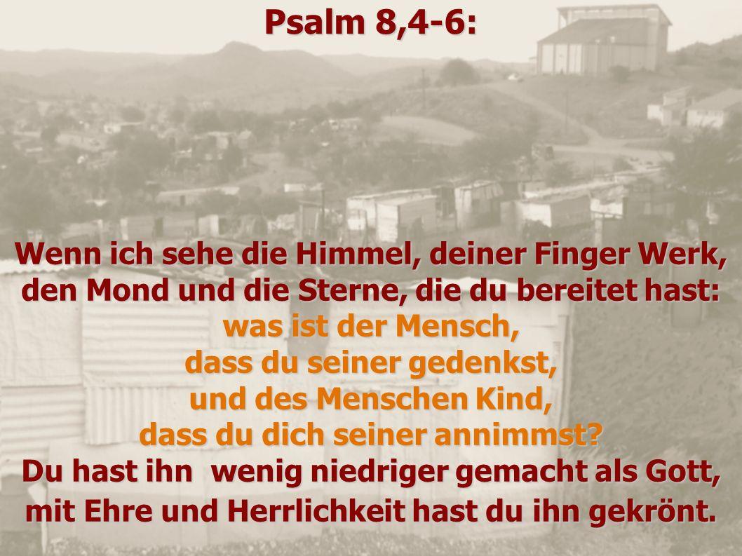 Psalm 8,4-6: Wenn ich sehe die Himmel, deiner Finger Werk, den Mond und die Sterne, die du bereitet hast: was ist der Mensch, dass du seiner gedenkst,