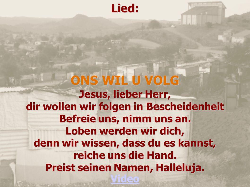 Lied: ONS WIL U VOLG Jesus, lieber Herr, dir wollen wir folgen in Bescheidenheit Befreie uns, nimm uns an. Loben werden wir dich, denn wir wissen, das