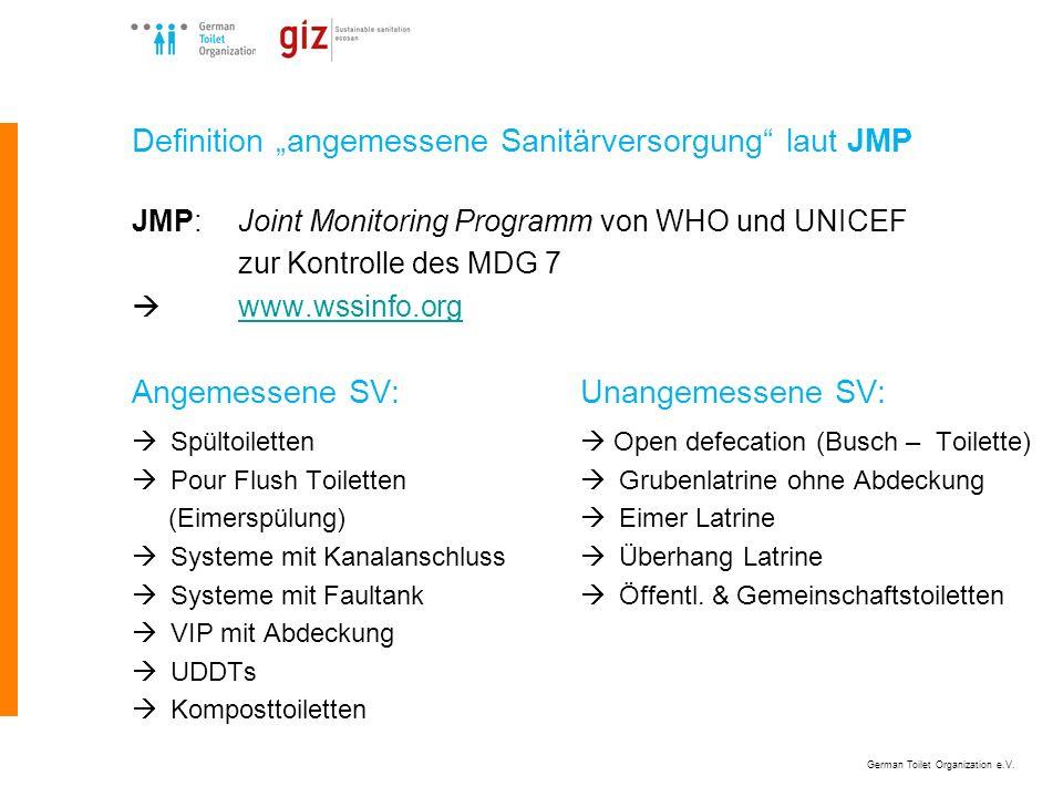 German Toilet Organization e.V. Definition angemessene Sanitärversorgung laut JMP JMP:Joint Monitoring Programm von WHO und UNICEF zur Kontrolle des M