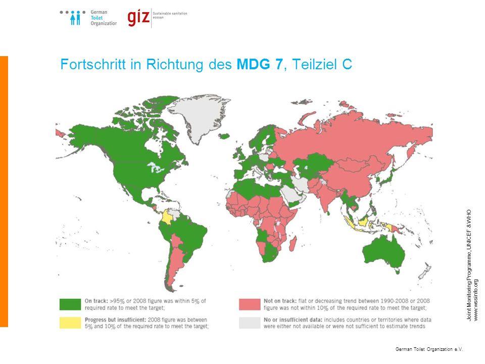 German Toilet Organization e.V. Joint Monitoring Programme, UNICEF & WHO www.wssinfo.org Fortschritt in Richtung des MDG 7, Teilziel C