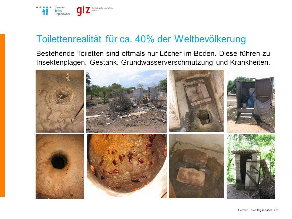 German Toilet Organization e.V. Toilettenrealität für ca. 40% der Weltbevölkerung Bestehende Toiletten sind oftmals nur Löcher im Boden. Diese führen