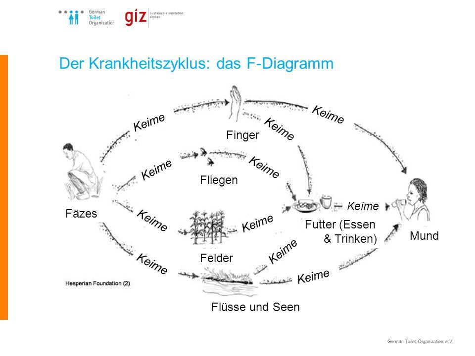 German Toilet Organization e.V. Der Krankheitszyklus: das F-Diagramm Fäzes Flüsse und Seen Mund Fliegen Finger Futter (Essen & Trinken) Felder Keime