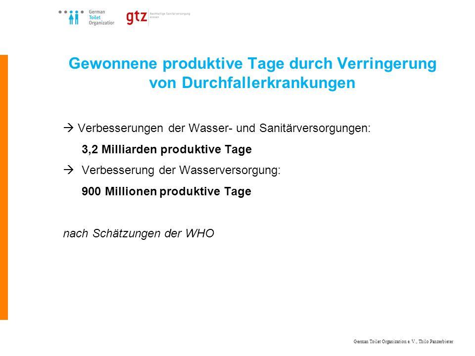 German Toilet Organization e. V., Thilo Panzerbieter Gewonnene produktive Tage durch Verringerung von Durchfallerkrankungen Verbesserungen der Wasser-