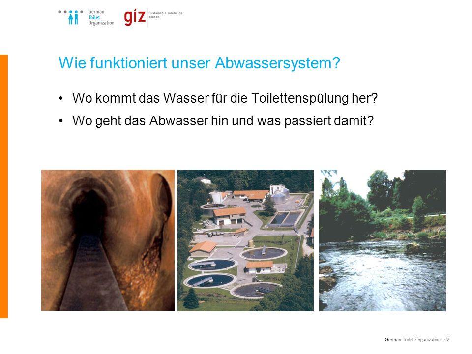 German Toilet Organization e.V. Wie funktioniert unser Abwassersystem? Wo kommt das Wasser für die Toilettenspülung her? Wo geht das Abwasser hin und