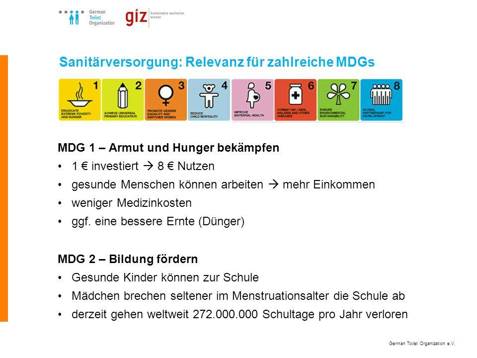 German Toilet Organization e.V. Sanitärversorgung: Relevanz für zahlreiche MDGs MDG 1 – Armut und Hunger bekämpfen 1 investiert 8 Nutzen gesunde Mensc
