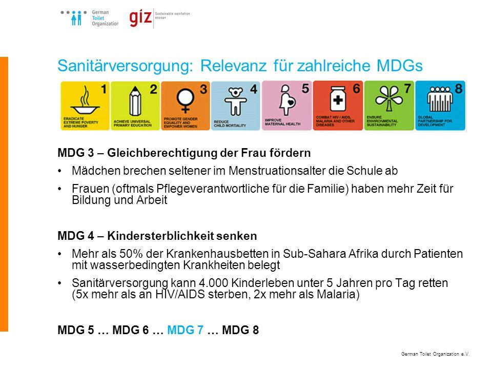 German Toilet Organization e.V. Sanitärversorgung: Relevanz für zahlreiche MDGs MDG 3 – Gleichberechtigung der Frau fördern Mädchen brechen seltener i