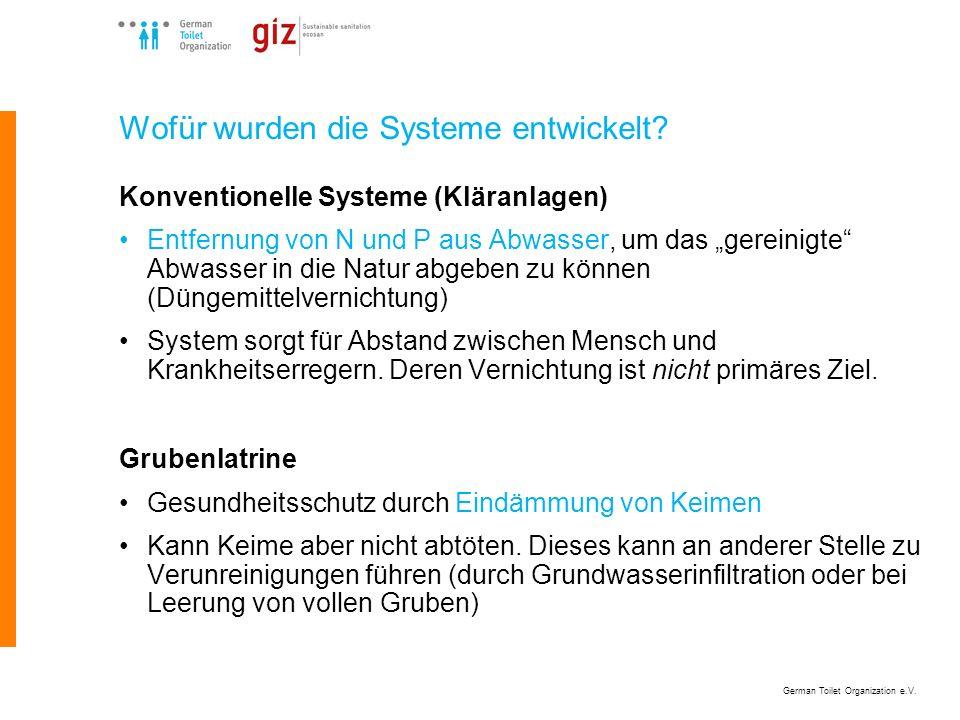 German Toilet Organization e.V. Wofür wurden die Systeme entwickelt? Konventionelle Systeme (Kläranlagen) Entfernung von N und P aus Abwasser, um das