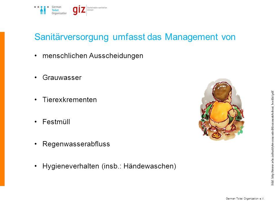 German Toilet Organization e.V. Bild: http://www.who.int/entity/wormcontrol/documents/urbani_booklet.pdf Sanitärversorgung umfasst das Management von