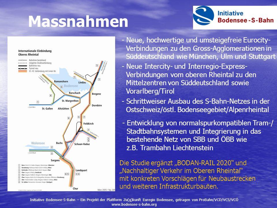 Massnahmen - Neue, hochwertige und umsteigefreie Eurocity- Verbindungen zu den Gross-Agglomerationen in Süddeutschland wie München, Ulm und Stuttgart