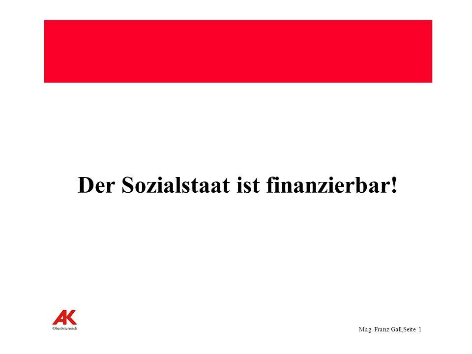 Mag. Franz Gall,Seite 1 Der Sozialstaat ist finanzierbar!