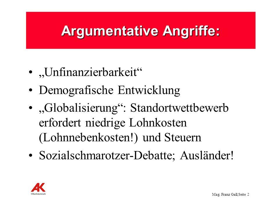 Mag. Franz Gall,Seite 2 Argumentative Angriffe: Unfinanzierbarkeit Demografische Entwicklung Globalisierung: Standortwettbewerb erfordert niedrige Loh