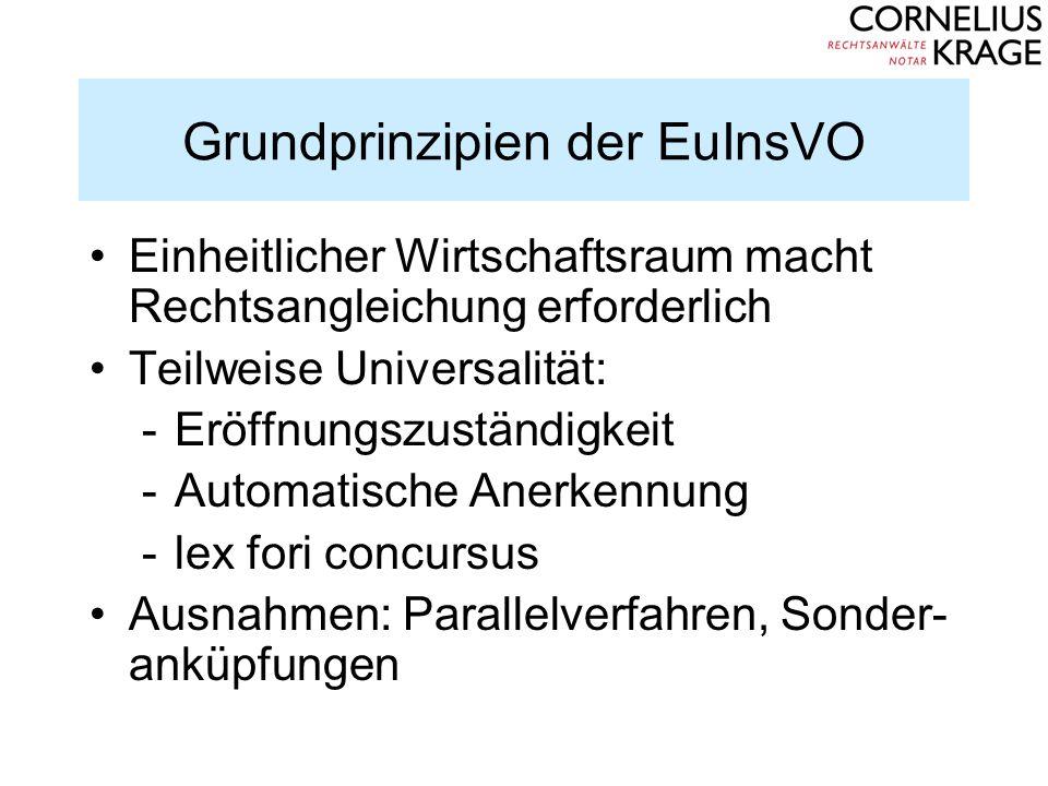 Grundprinzipien der EuInsVO Einheitlicher Wirtschaftsraum macht Rechtsangleichung erforderlich Teilweise Universalität: -Eröffnungszuständigkeit -Auto