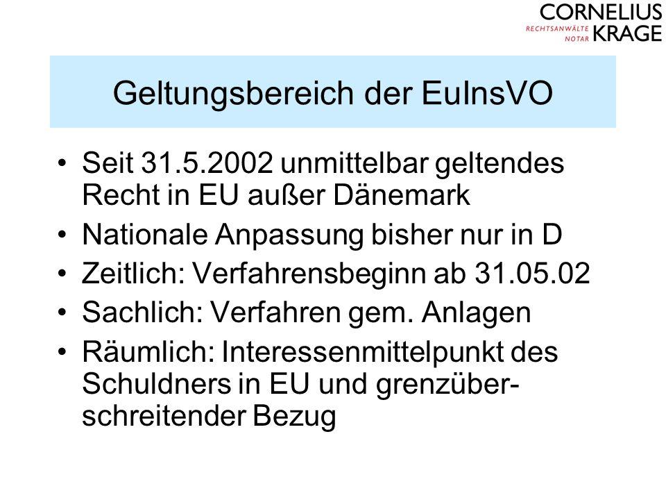 Geltungsbereich der EuInsVO Seit 31.5.2002 unmittelbar geltendes Recht in EU außer Dänemark Nationale Anpassung bisher nur in D Zeitlich: Verfahrensbe
