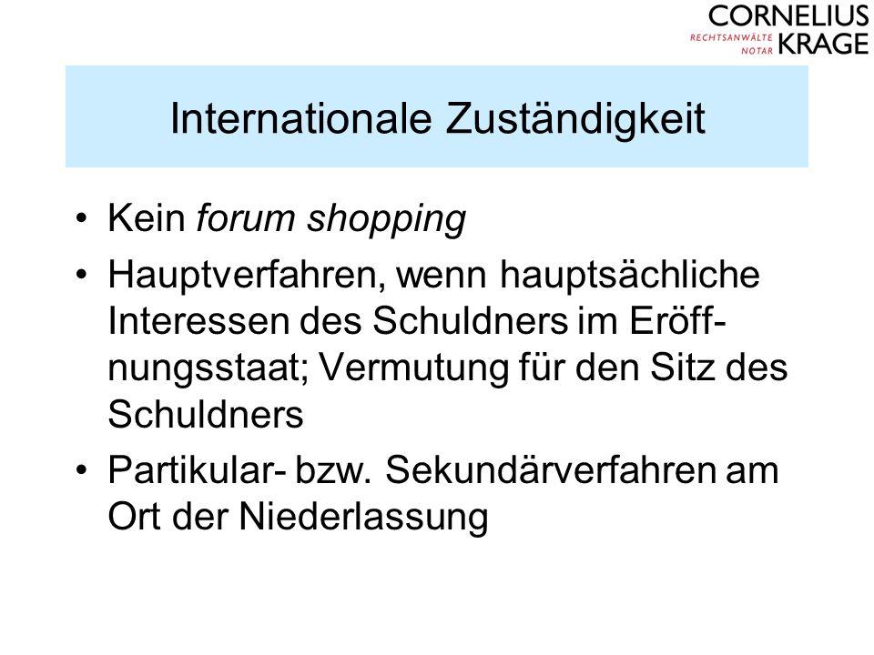 Internationale Zuständigkeit Kein forum shopping Hauptverfahren, wenn hauptsächliche Interessen des Schuldners im Eröff- nungsstaat; Vermutung für den