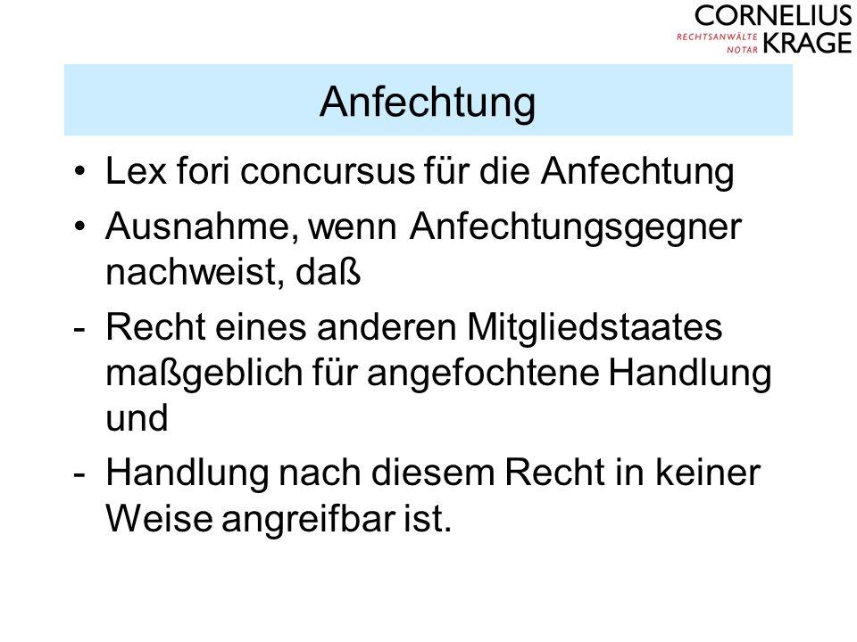 Anfechtung Lex fori concursus für die Anfechtung Ausnahme, wenn Anfechtungsgegner nachweist, daß -Recht eines anderen Mitgliedstaates maßgeblich für a