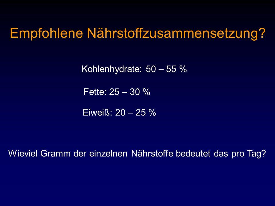 Empfohlene Nährstoffzusammensetzung? Kohlenhydrate: 50 – 55 % Fette: 25 – 30 % Eiweiß: 20 – 25 % Wieviel Gramm der einzelnen Nährstoffe bedeutet das p