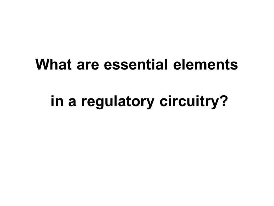 What are essential elements in a regulatory circuitry?