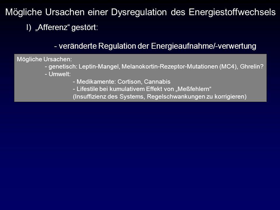 Mögliche Ursachen einer Dysregulation des Energiestoffwechsels I) Afferenz gestört: - veränderte Regulation der Energieaufnahme/-verwertung Mögliche U