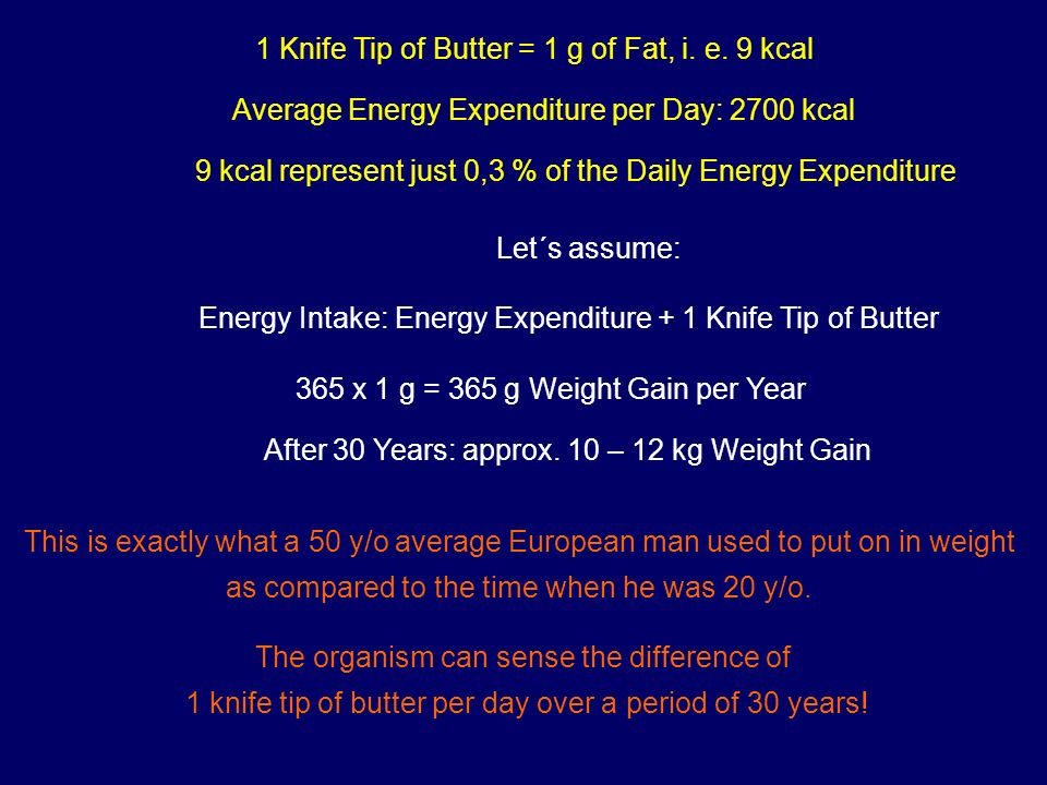 1 Knife Tip of Butter = 1 g of Fat, i. e. 9 kcal Average Energy Expenditure per Day: 2700 kcal 9 kcal represent just 0,3 % of the Daily Energy Expendi